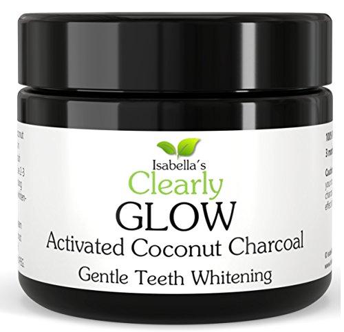 Clearly GLOW Coconut, Poudre de charbon de bois activée de blanchiment des dents pour éclaircir et blanchir les dents tachées et promouvoir des gencives saines.
