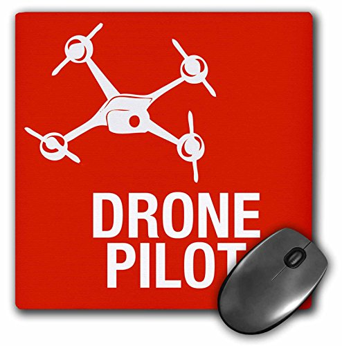 3dRose mp 179916 1 8 x 8 Red Drone with Words UAV Pilot Mouse Pad
