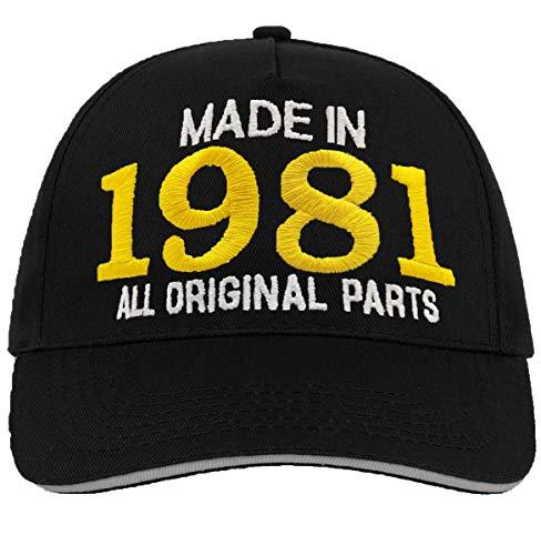Bombo Made in 1981 All Original Parts Chapeau de fête d'anniversaire 40 Ans Noir