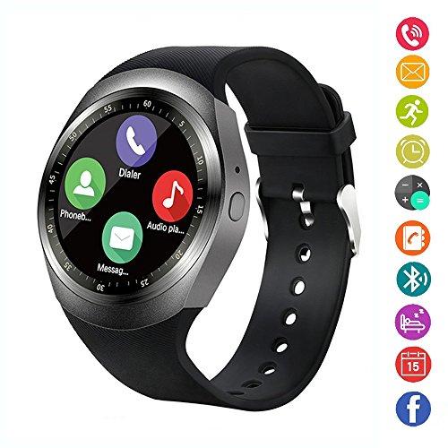 Smart Watch, IDEALBY Rotondo Android Bluetooth Smartwatch Touch Screen Orologio con slot per schede SIM TF, pedometro, monitor sonno, promemoria sedentario per iPhoneX/8/8/7/7p,Sony,Huawei,LG(Argento)