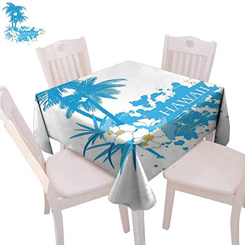 Decoraciones hawaianas Mantel cuadrado de cocina Palmeras Plantas tropicales Flores y mariposas Silueta Monocromo Obra de Arte de la Mesa de protección, 50 x 127 cm, color blanco