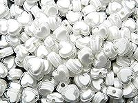 300個 ハート形 アクリルビーズ ホワイト 8mm 穴:1.8mm クラフト 手芸用品 ジュエリー アクセサリーパーツ Huey 手芸材料のヒューイ h2105s31