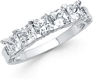 Sonia Jewels 925 Sterling Silver Ring Invisible Set Cubic Zirconia CZ Anniversary Wedding Band