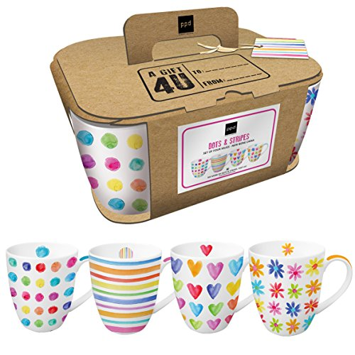 PPD Aquarell Mix Henkelbecher, 4er Set, Kaffeetasse, Kaffee Becher, New Bone China, Mehrfarbig, 350 ml, 603120