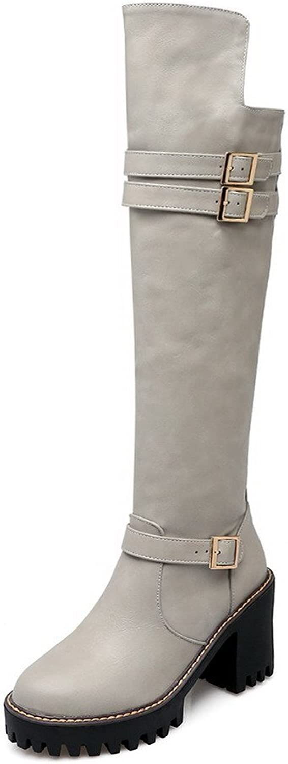 WeenFashion Women's Pu Mid Top Solid Zipper High Heels Boots