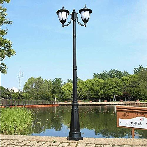 QULONG Poste de luz para Exteriores Aluminio Fundido Clásica Iluminación de Paisaje de Doble Cabezal Lámpara de Calle Vintage Pantalla de Cristal E27 Exterior Jardín Patio Entrada de Entrada Lámpar