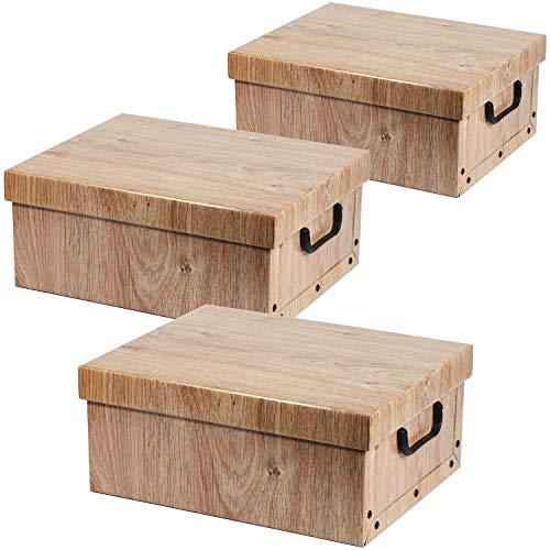 com-four® Caja de Almacenamiento 3X en un Gran Aspecto de Madera - Caja de decoración para almacenar Documentos, Documentos, Suministros de Manualidades, revistas y más - con Asas (03 Piezas - Chapa)