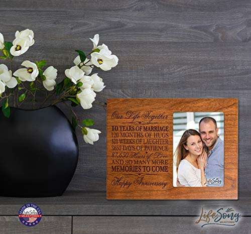 LifeSong Milestones Personalized 20 Year Wedding Frame Holds 4x6 Photo Frame Size 10 w x 8 h x 1//2