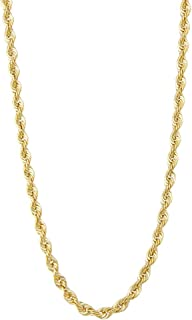 Genuine Solid 14kt Yellow Gold and White Gold Italian Inspired 4.9mm Rope Chain Link Necklace for Men with Lobster Claw Clasp and Authentic Metal Stamping Size 18,20,24