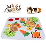 GINDOOR 24' x 24' Rabbit Foraging Mat, Interactive Feed Game for Boredom, Polar Fleece Pet Snuffle Pad Bed Treat Dispenser for Rabbits Bunny Guinea Pigs Chinchillas Ferrets