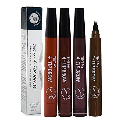 1 pieza 4 puntas de tenedor lápices de cejas líquidos Microblading cejas tatuaje tinte tinte pluma tinta de larga duración no florece a prueba de manchas impermeable a prueba de sudor
