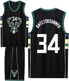Basket-Ball pour Les Hommes et Costume de Basket Unisexe T-Shirt Lettres Cousues ZGJY Milwaukee Bucks Giannis Antetokounmpo # 34 Maillot Shorts-Ensemble sans Manches Classique