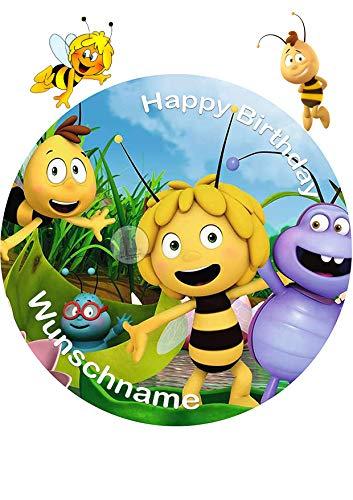 Für den Geburtstag ein Tortenbild-Wunschname, Zuckerbild mit dem Motiv: Biene Maja, Essbares Foto für Torten, Tortenbild, Tortenaufleger Ø 20cm - Super Qualität, 4409a