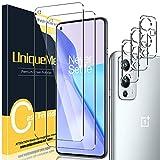 [2+3 Pack] UniqueMe Protector de Pantalla Compatible con Oneplus 9 + Protector de Lente de cámara, Vidrio Templado [9H Dureza] HD Film Cristal Templado