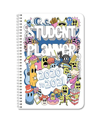 """BookFactory 2020-2021 Doodle Student Planner/Agenda/Organizer/Calendar (134 Pages) - 6"""" X 9"""" Wire-O (CAL-134-69CW-A(Doodle-Planner20-21))"""