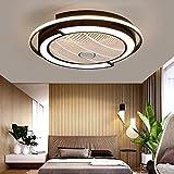 XH&XH Ventilador de Techo con luz, Control Remoto LED, Modos de iluminación Totalmente Regulables, aspas acrílicas Invisibles, Carcasa de Metal, Montaje Semi Empotrado, Ventilador de Perfil bajo (