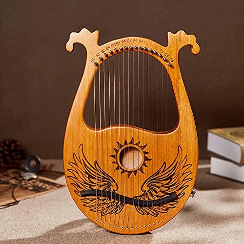 Tyfiner Arpa De Lira 19 Cuerdas Caoba Arpa Pequeña Portátil Instrumento Portátil de 16 Cuerdas para Principiantes para Amantes De La Música Principiantes Niños Adultos,004,16 Strings
