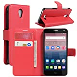 HualuBro Alcatel Pop 4 Hülle, Leder Brieftasche Etui Tasche Schutzhülle HandyHülle [Standfunktion] Leather Wallet Flip Hülle Cover für Alcatel Pop 4 (Rot)