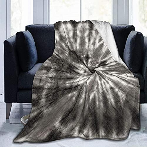 Manta Lanza Manta de Forro Polar portátil, Manta de teñido Anudado Gris, Que acompaña de la mañana a la Noche, para Cinime Holiday Trip Camping Outdoor Blanket
