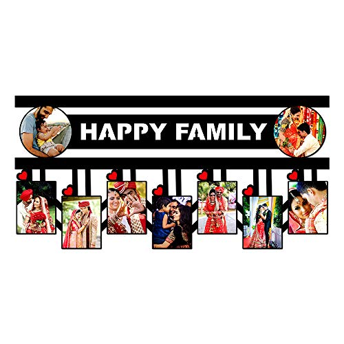 Plan To Gift Wooden Happy Family with 9 Photos Customized Photo Frame with Name (12 x 24 inch, Multicolour)
