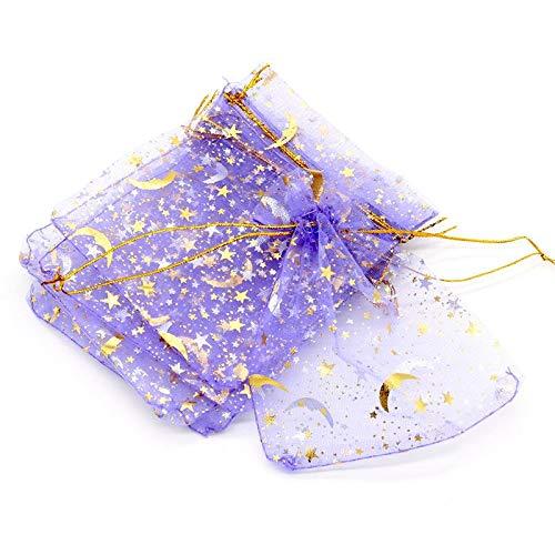 MURUI Bolsa pequeña de organza de 9 x 12 cm, para decoración de boda, abalorios, joyas, embalaje, diseño de luna, estrella, bolsa de regalo YC0221 (color: morado, tamaño: 9 x 12 cm)