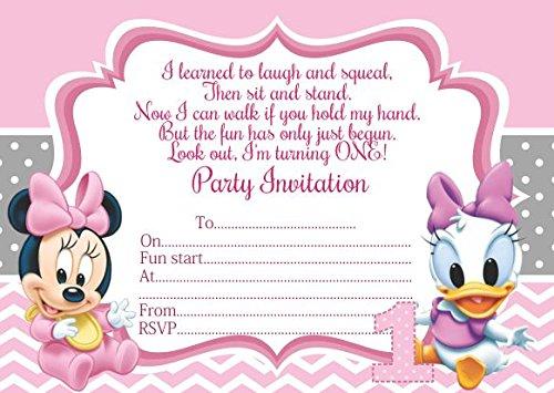 10x Bebé Minnie Mickey Mouse niños fiesta de cumpleaños invitaciones, color with Pink envelopes