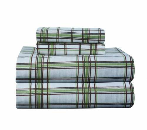 Pointehaven Heavy Weight Printed Flannel Twin Extra Long Sheet Set, Plaid, Sage