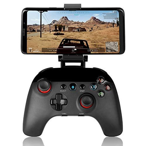 Wireless Game Controller Bluetooth Mobile Gamepad Joystick Game Handle with Retractable Phone Holder Clip Compatible for Android/iOS Smartphone iPad