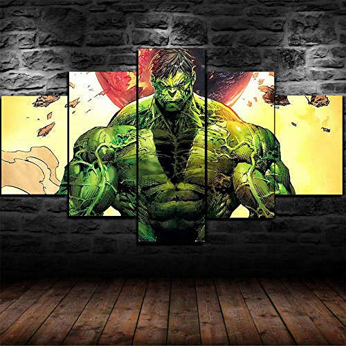 QMCVCDD 5 Pieza Cuadro En Lienzo 5 Piezas Cuadros 5 Partes Modernos Cuadros Impresión Impresión Artística Los Cómics De Hulk Imagen Gráfica Lienzo XXL