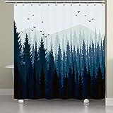 JAWO Forest Duschvorhang Nebel Berge Vögel & Kiefer Bäume Szene Badezimmer Stoff Gardinen 175,9 x 177,8 cm schwarz marineblau