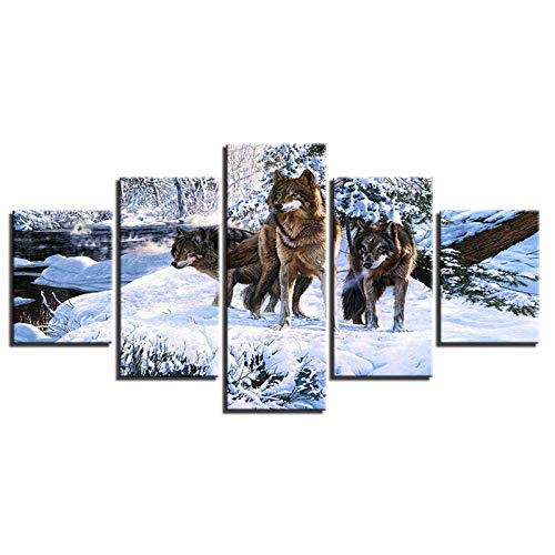 IGZAKER Nessuna Cornice Canvas Pictures Home Decor Wall Art per Soggiorno 5 Pezzi Snow Wolf Ice Forest Paintings HD Stampe Animali Poster @ 40x60,40x80,40x100cm_A