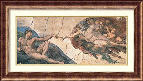 Framed Wall Art Print The Creation of Adam, c.1508-12 by Michelangelo Buonarroti 45.38 x 25.38 in.