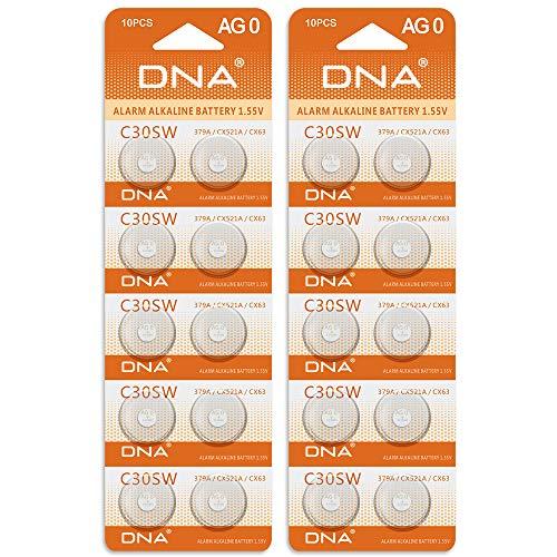 20 x DNA Uhrenbatterien 20 AG0 LR521 379 SR521SW