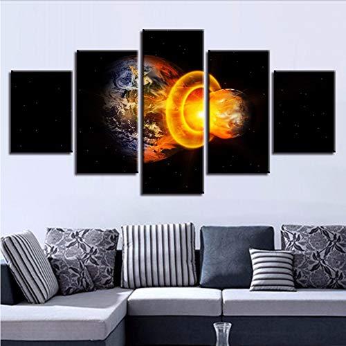 Wuwenw Impression D'Art Mural Affiche 5 Pièces Mars Frappe La Terre Paysages Abstraits Toile Images De Salon Modulaire Décor De Peinture De Cadre, 4X6 / 8 / 10Inch, Avec Cadre