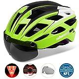 Shinmax 069式自転車ヘルメット, LEDライト付きサイクルヘルメット 安全ライト付き自転車ヘルメット ゴーグル超軽量高剛性自転車ヘルメット ロードバイクヘルメット アダルト自転車ヘルメット 取り外し可能なシールドサンバイザー付き 57-61cm男女兼用