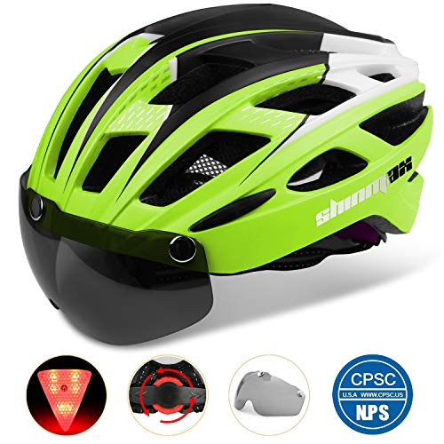 Shinmax 069 Bike Helmet, Cycle Helmet with LED Light, Safety Light, Goggles, Ultra Lightweight, High Rigidity, Road Bike Helmet, Adult Bicycle Helmet, Removable Shield Sun Visor, 22.4 - 24.4 inches (57 - 62 cm) Unisex