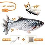 🐟🐟Jouet Poisson Electronique Simulation: Lorsque votre chat le touche, il déclenche un capteur de mouvement intégré dans le jouet de poisson, provoquant le corps du poisson à se balancer. Cela attirera l'attention du chat, lorsque le propriétaire n'e...