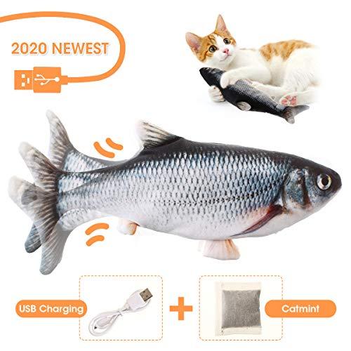 Charminer Elektrisch Spielzeug Fisch, Katze Interaktive Spielzeug USB Elektrische Plüsch Fisch Kicker Katzenspielzeug mit Katzenminze Kauen Spielzeug für Katze zu Spielen, Beißen, Kauen und Treten
