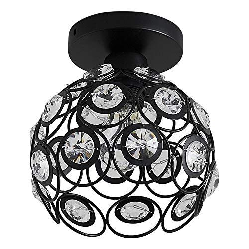 ZHU YAN Semi Flush Mount Ceiling Light Fixture, Metal Ball Lampshade with Crystal Bead, Indoor Lighting for Bathroom, Foyer Hallway Kitchen Black