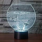 DFDLNL Gold Carp Aquarium 3D Shape Night Light como Regalo para niños o decoración de la habitación 7 Colores cambiantes