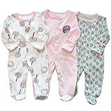 Bebé Niños Niñas Mono Mameluco de Manga Larga Body Algodón Peleles Comodo Pijama Regalo de Recien Nacido, Pack de 3, 9/12 Meses