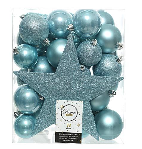 Christmas-Decorations 33er Set Kunststoff - Weihnachtskugeln Mix mit Sternspitze Eisblau Hellblau