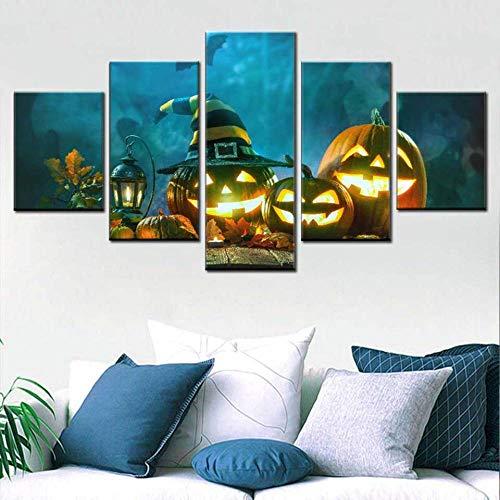 HOMOPK Canvas foto poster Halloween poster 5 stuks HD Print muurkunst canvas schilderij Jack pompoen lampen hoed wandschilderijen voor woonkamer wooncultuur cadeau 40x60cmx2 40x80cmx2 40x100cmx1 Rahmenlos.