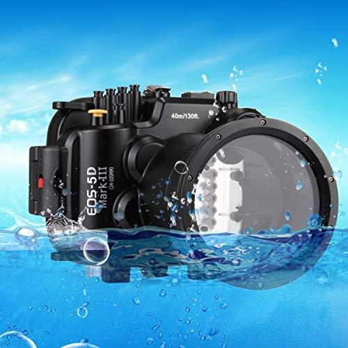 ZAORUN - Funda para cámara de buceo (40 m, profundidad subacuática), carcasa de cámara resistente al agua, compatible con Canon EOS-5D Mark III (EF 24-105 mm f/4L IS II USM)