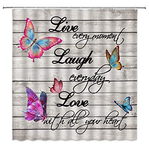 Live Laugh Love Shower Curtain Inspirational Quote Rustic Wooden Boards Colorful Butterfly Black Motivational Words Creative Positive Phrase Decor Fabric Bathroom Curtain with Hooks