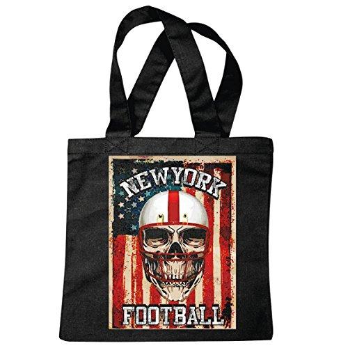 Tasche Umhängetasche New York City USA Amerika FUßBALL American Football Team College Football Mannschaft Baseball Shirt Football Mannschaft Einkaufstasche Schulbeutel Turnbeutel in Schw