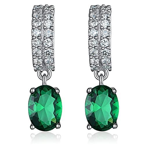 Pendientes Mujer Pendiente De Plata De Ley 925 Pendientes Colgantes con Forma De Gota Nano Esmeralda Vintage para Mujer Regalos Joyería Verde