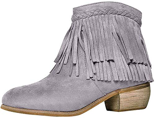 Bella Marie Womens Round Toe Med Low Heel Faux Suede Cowboy Western Fringe Ankle Boot Booties 9 Gray
