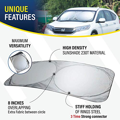 EcoNour Windshield Sun Shade - Blocks UV Rays Sun Visor Protector Sunshade to Keep Your Vehicle Cool and Damage Free | Easy to Use Car Accessories | Fits Most Windshields (Standard 64