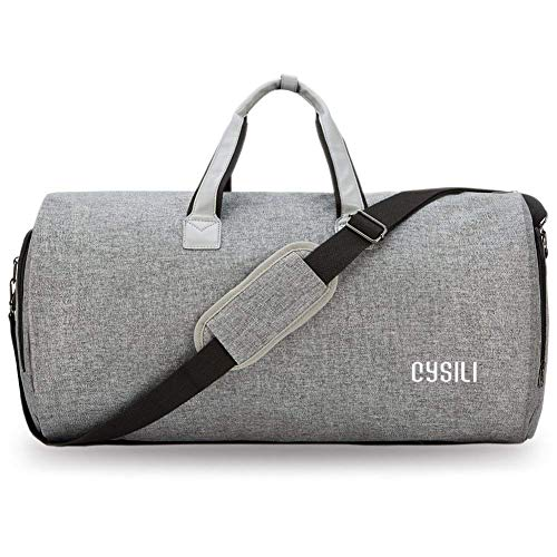 Garment Bag with Shoes Compartment, Carry on Garment Duffel Bag with Wet Pouch (for Toiletries); Suit Travel Bags for Men and Women (Light Grey)
